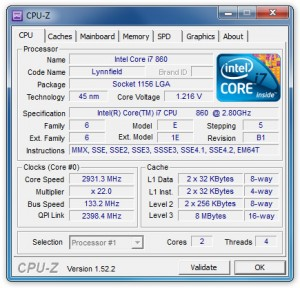 Interfaccia grafica del software CPU-Z