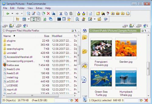 Interfaccia del software FreeCommander