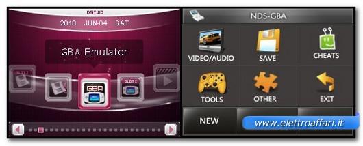 Interfaccia di un emulatore per Nintendo DS