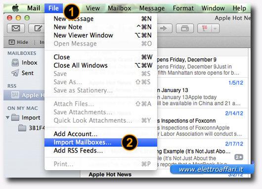 Schermata dell'applicazione Mail per l'importazione delle email