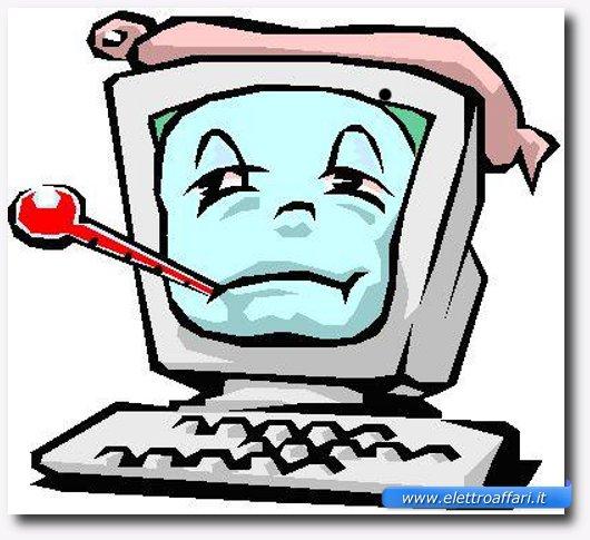 Immagine simpatica di un PC malato