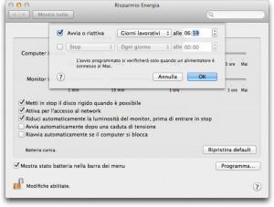 Finestra delle impostazioni del Mac per programmare accensione e spegnimento