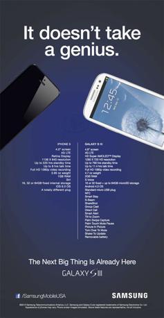 Immagine di confronto tra iPhone 5 e Galaxy S3