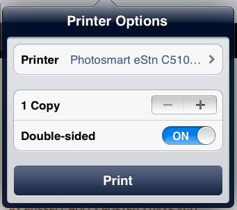 Schermata delle opzioni di stampa dell'iPad