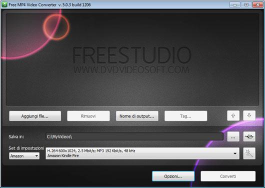 Interfaccia grafica di Free MP4 Video Converter