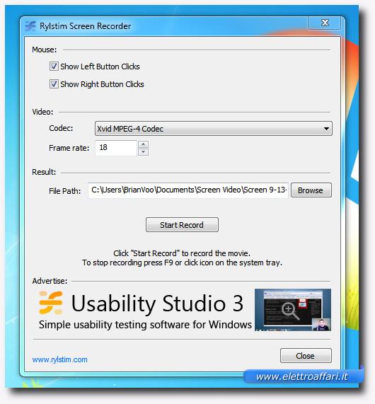 Interfaccia del programma Rylstim Screen Recorder