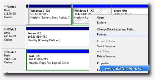 Comandi per formattare una partizione di Windows