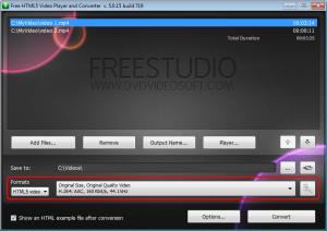 Porzione del programma per selezionare il formato video in output