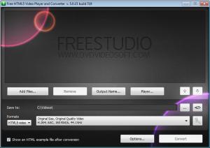 Interfaccia grafica del convertitore Free HTML5 Video Player and Converter
