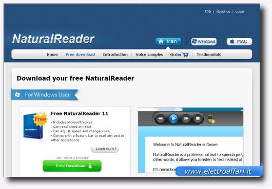 Immagine del sito del software NaturalReader