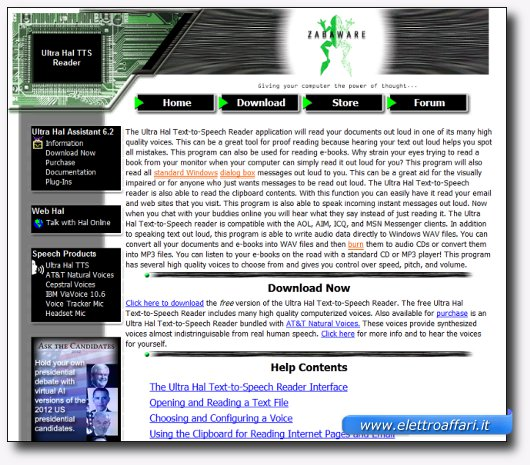 Immagine del sito del software Ultra Hal TTS Reader