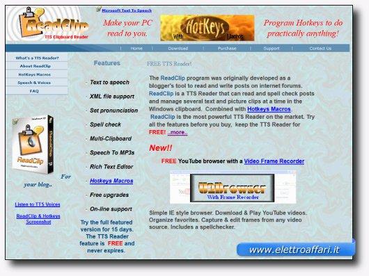 Immagine del sito del software ReadClip