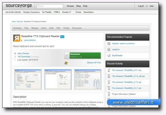 Immagine del sito del software Read4Me TTS Clipboard Reader
