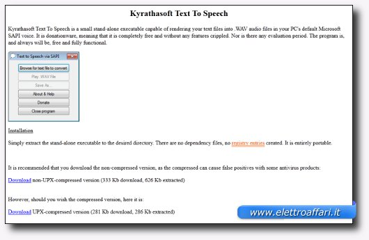 Immagine del sito del software Kyrathasoft Text To Speech
