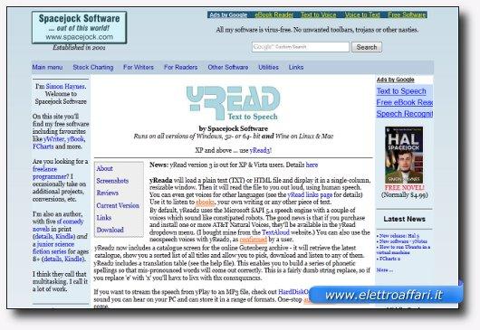 Immagine del sito del software yRead