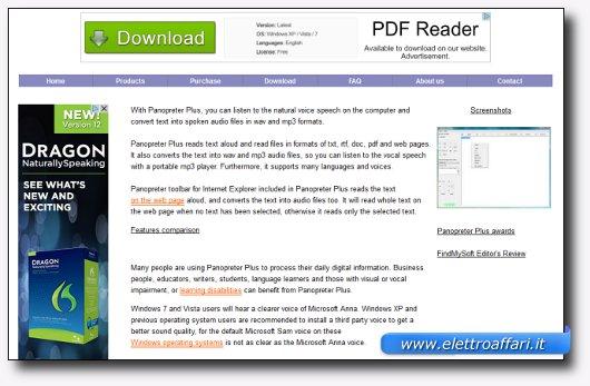 Immagine del sito del software Panopreter