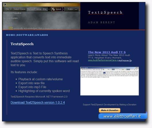 Immagine del sito del software Text2Speech