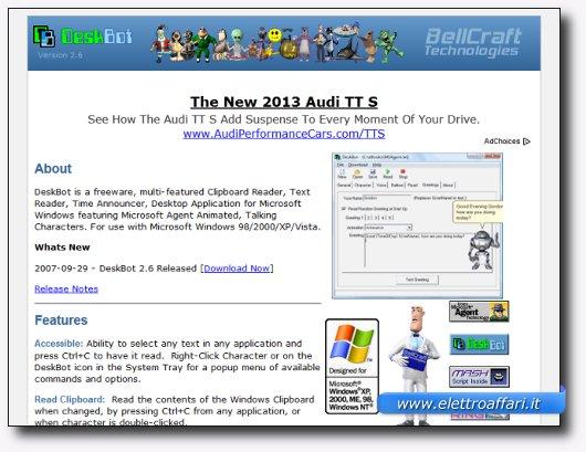 Immagine del sito del software DeskBot