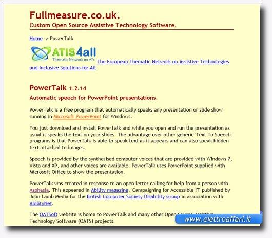 Immagine del sito del software PowerTalk