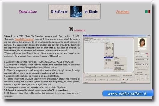 Immagine del sito del software DSpeech