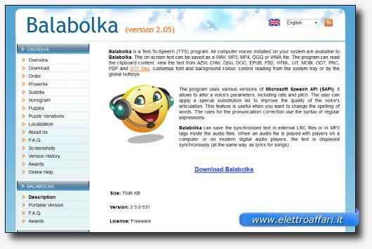 Immagine del sito del software Balabolka