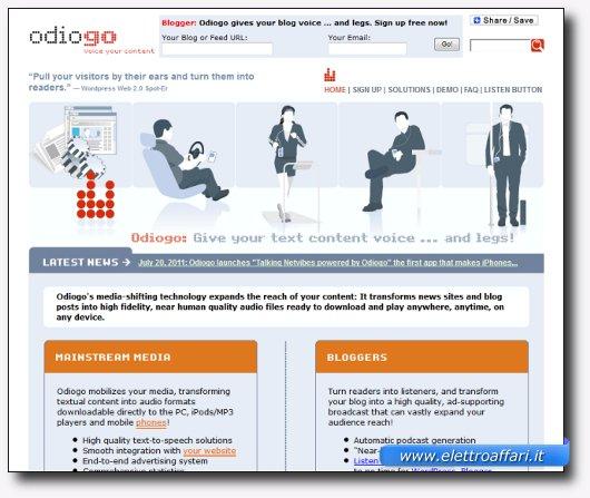 Immagine del sito del software Odiogo