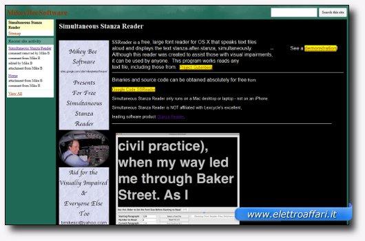 Immagine del sito del software Simultaneous Stanza Reader – For Mac