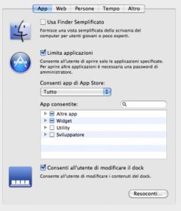 Schermata per limitare l'uso delle applicazioni