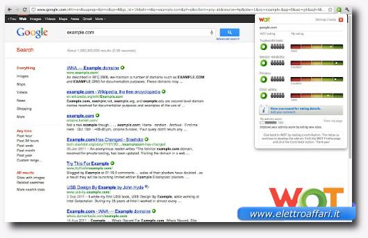Immagine del plugin WOT per Firefox