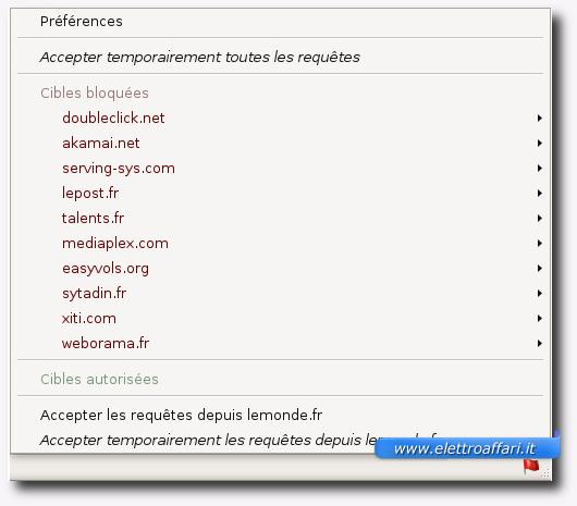 Immagine del plugin RequestPolicy per Firefox