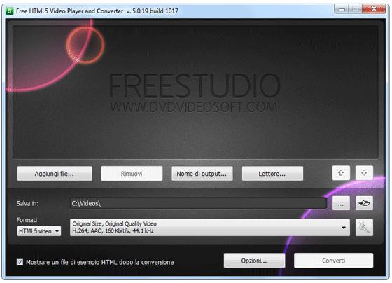 Interfaccia grafica di Free HTML5 Video Player and Converter