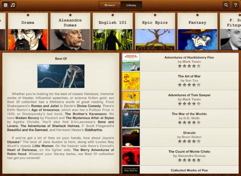Interfaccia dell'applicazione Books