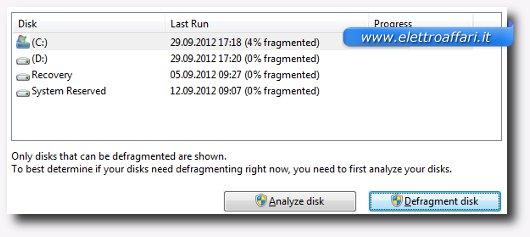 Interfaccia grafica del programma Auslogics Disk Defrag Free