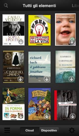 Interfaccia dell'applicazione Kindle