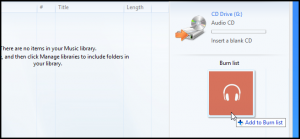 Schermata per aggiungere file audio da masterizzare