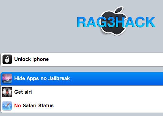 Immagine del sito Rag3hack e del pulsante da premere