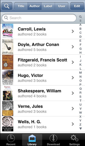 Interfaccia dell'applicazione ShuBook