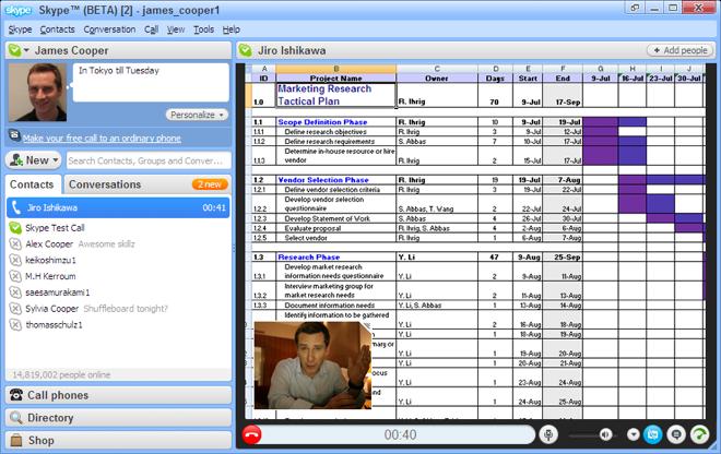 Interfaccia di Skype con un esempio di schermo condiviso