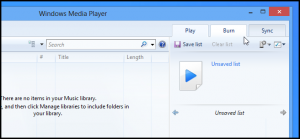Interfaccia grafica di Windows Media Player su Windows 8
