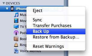 Schermata di iTunes per eseguire un backup