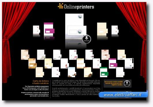 Immagine del sito OnlinePrinters per scaricare la carta da lettera