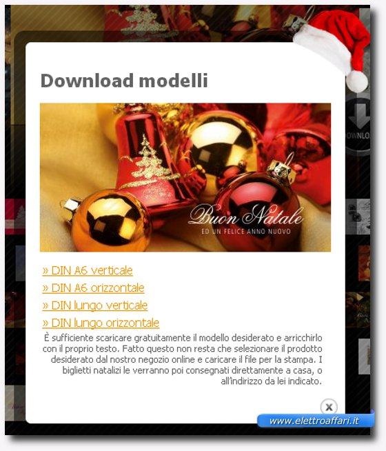 Immagine della finestra di download della carta da lettera natalizia
