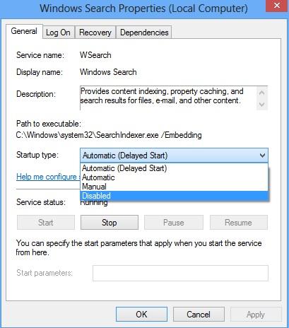 Schermata per disabilitare l'indicizzazione dell'Hard Disk