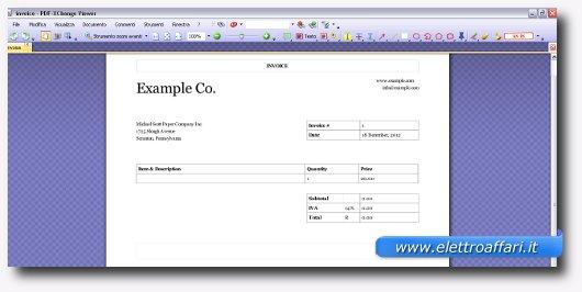 Immagine della fattura in PDF