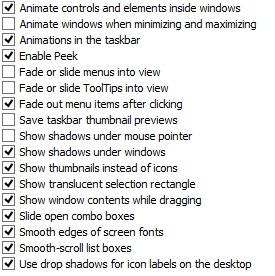 Schermata per disabilitare le animazioni di Windows 8