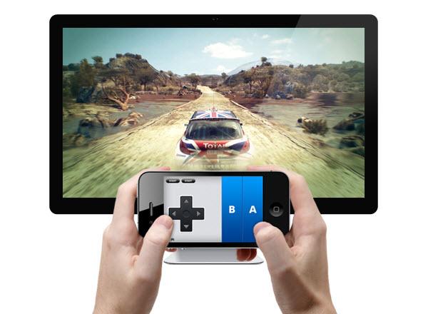 Immagine di un iPhone usato come pad per giocare con l'iPad grazie all'app Joypad