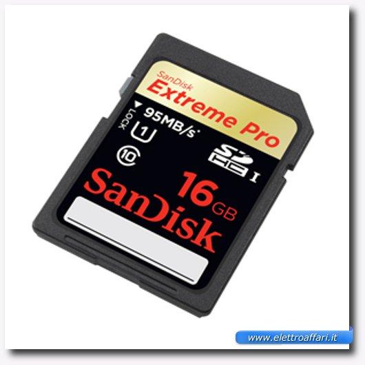 Immagine di una memoria SD SanDisk 16 GB