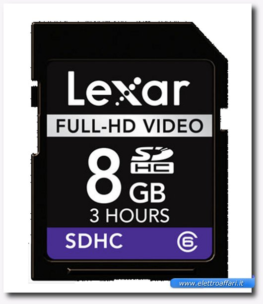 Immagine di una scheda SD Lexar Full-HD Video 8 GB