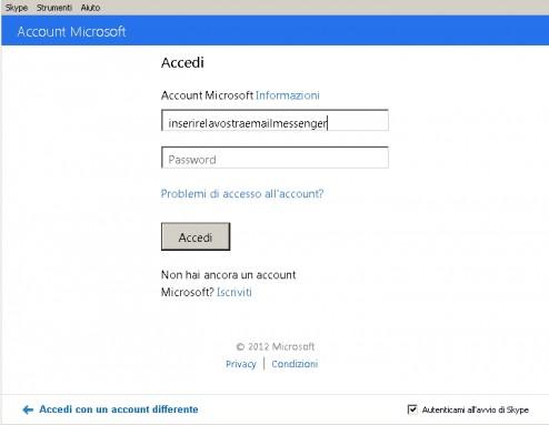 Schermata dell'inserimento parametri per l'accesso a Skype