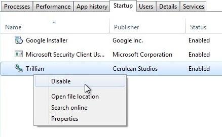 Schermata con la lista dei programmi che si avviano automaticamente